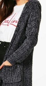 Sweaters - Charcoal cable knit chenille cardigan